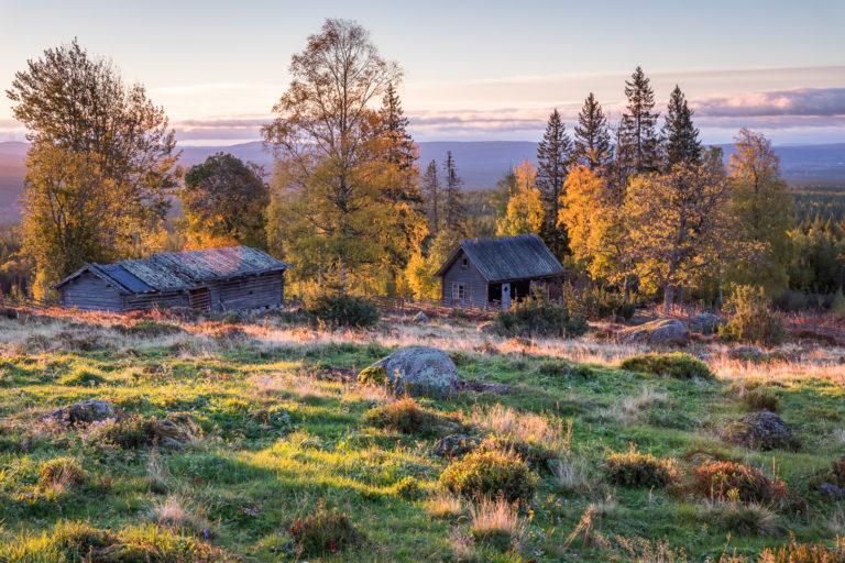 Soluppgång på Ärteråsens fäbodar i Furudal...